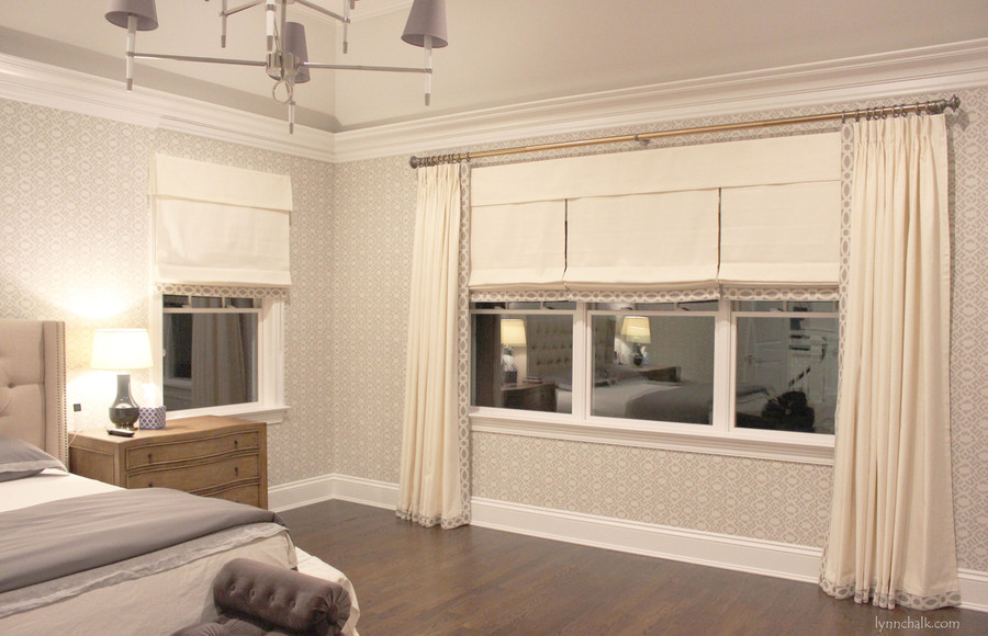 Drapes and Roman Shades in Trend 01838T 07 with Samuel & Sons 977 56199 Trim.   Fabricut Wallpaper 50025W Diamante Grey 03. (Designed by id 810 Design Group)