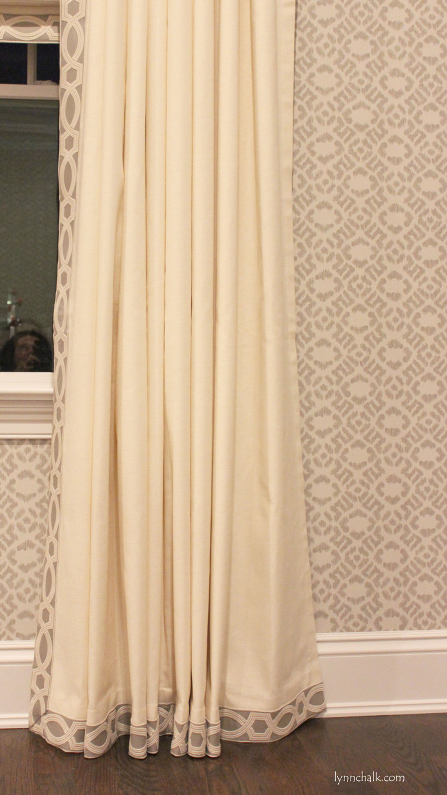 Trend Linen/Cotton 01838T Roman Shades with Samuel & Sons Ogee Embroidered Border in Dove