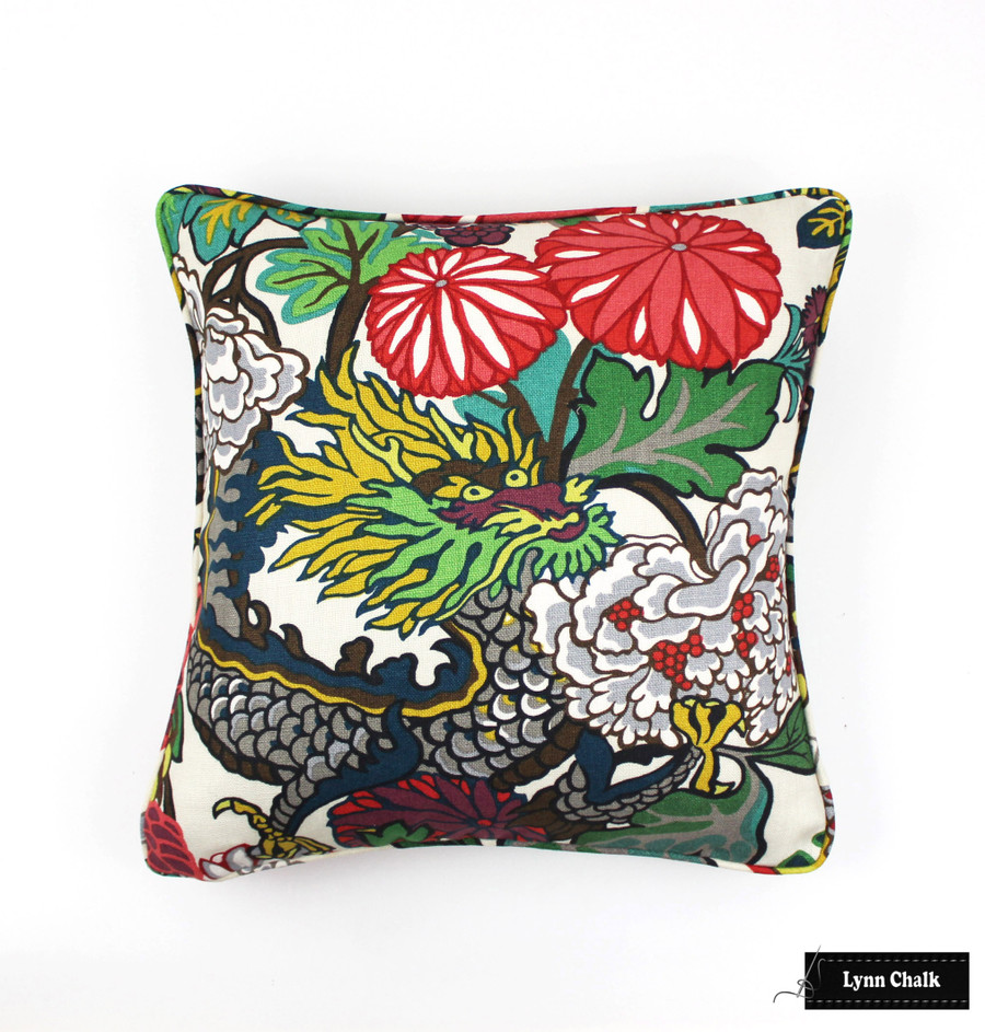 Schumacher Chiang Mai Dragon Pillow with Contrasting Red Welting (shown in Alabaster -Comes in  8 Colors) 2 Pillow Minimum Order