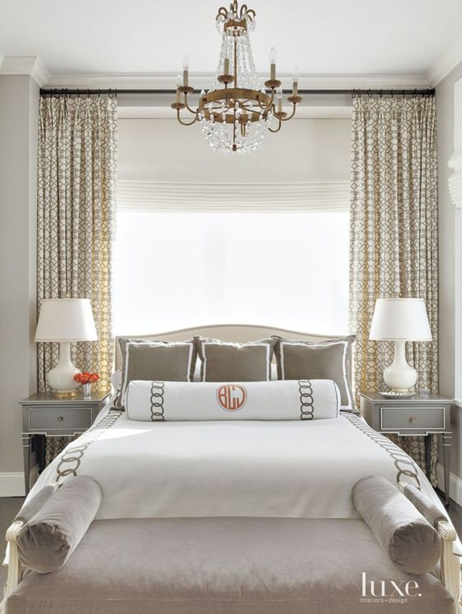Bedroom Window behind Bed with Drapes in Pelagos Mist and Roman Shade and Sheer (Luxe)
