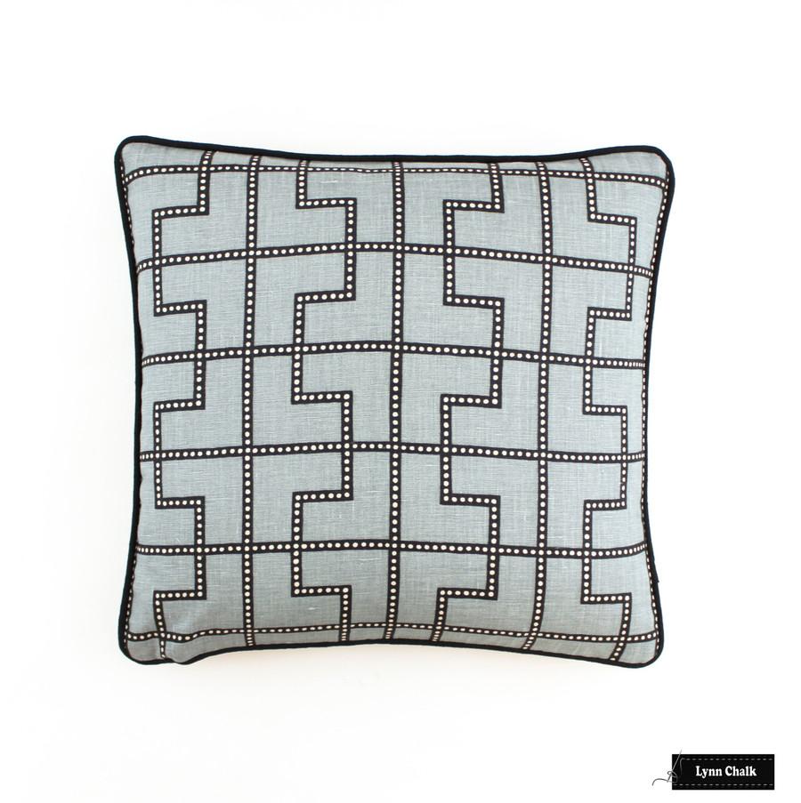 Schumacher Celerie Kemble Bleecker Twilight Pillow (18 X 18) with black welting