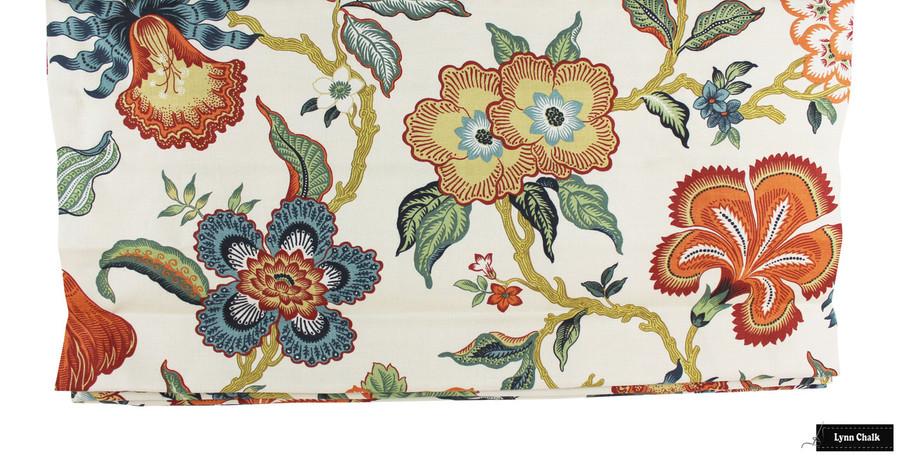 Schumacher Celerie Kemble Hothouse Flowers Roman Shades (shown in Verdance-comes in Four Colors)