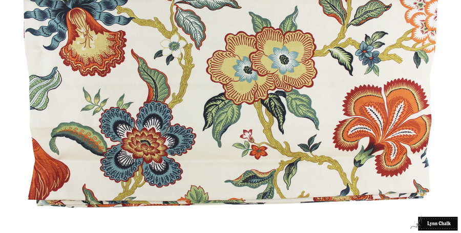 Schumacher Celerie Kemble Hothouse Flowers Roman Shades (shown in Verdance-comes in Four Colors)