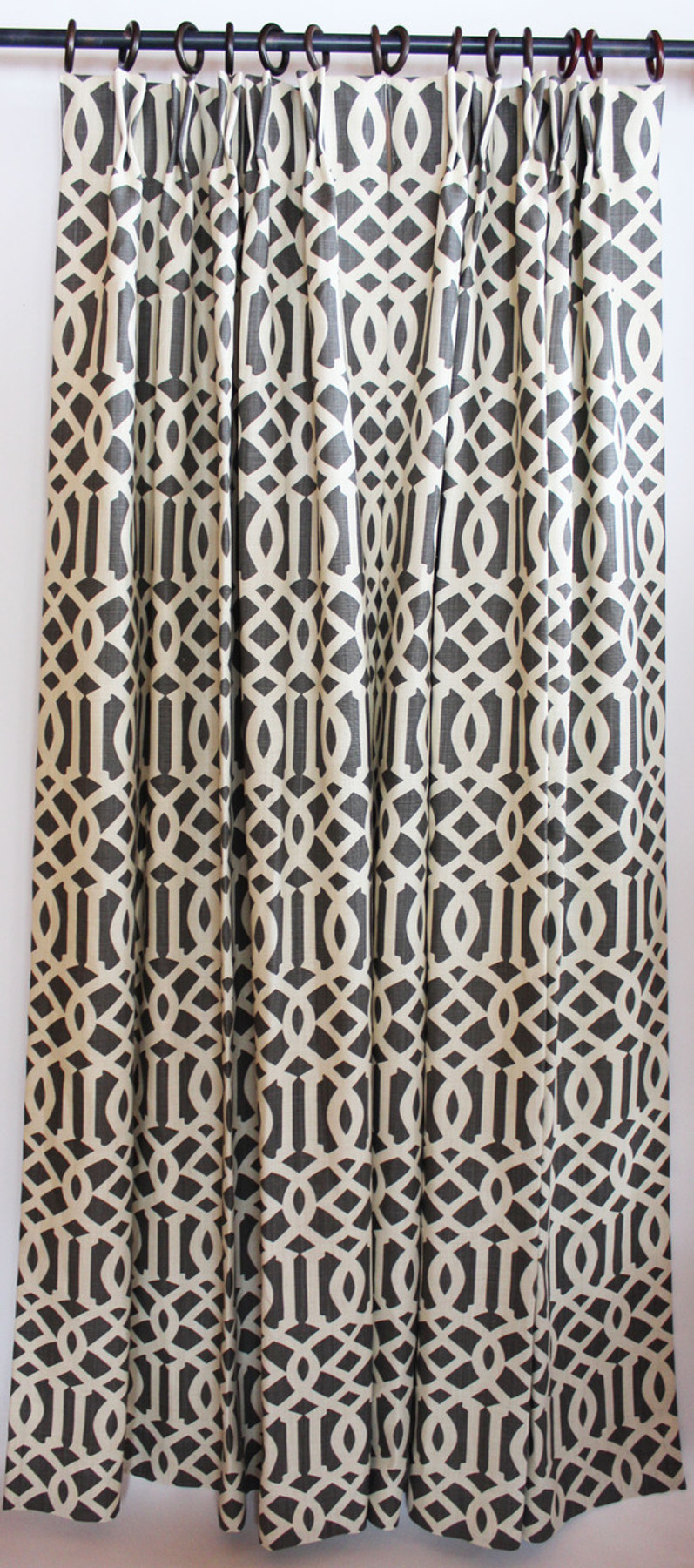 Schumacher Imperial Trellis Inverted Pleated Drapes (shown in Natural/Coffee -comes in many colors)