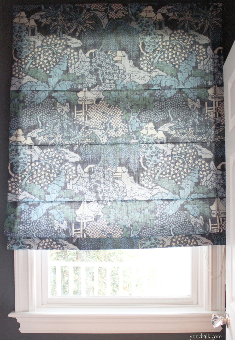 Roman Backslat Shade in Kelly Wearstler Edo Linen Teal.