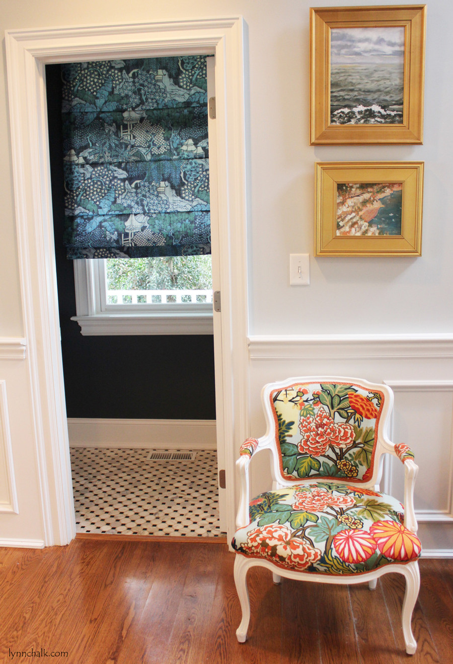 Roman Backslat Shade in Kelly Wearstler Edo Linen Teal.  Chair in Chiang Mai Dragon Aquamarine.
