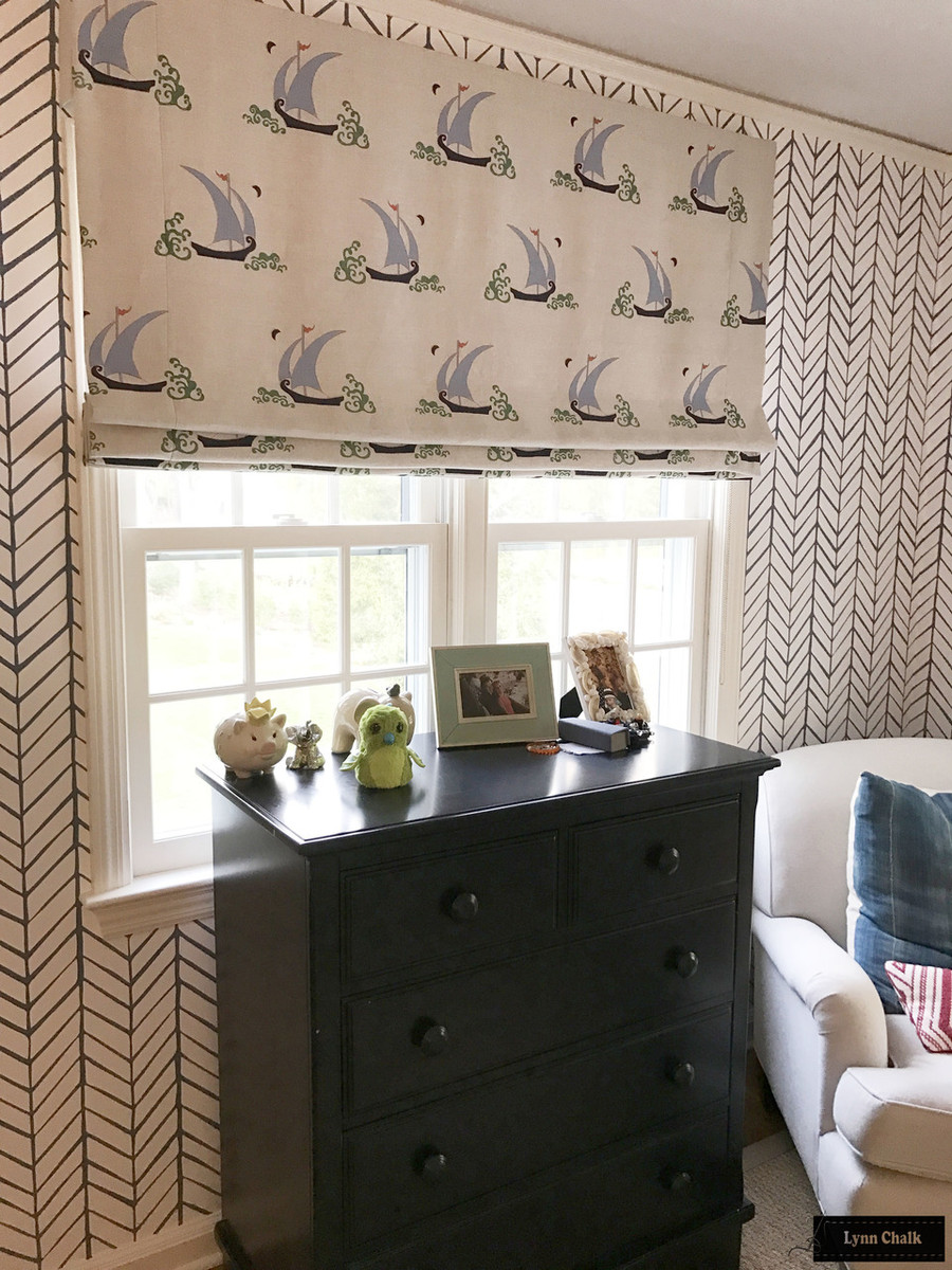 """Roman Shades in Beetlecat Lavender.  Double Wide Shade is 62"""" Wide."""