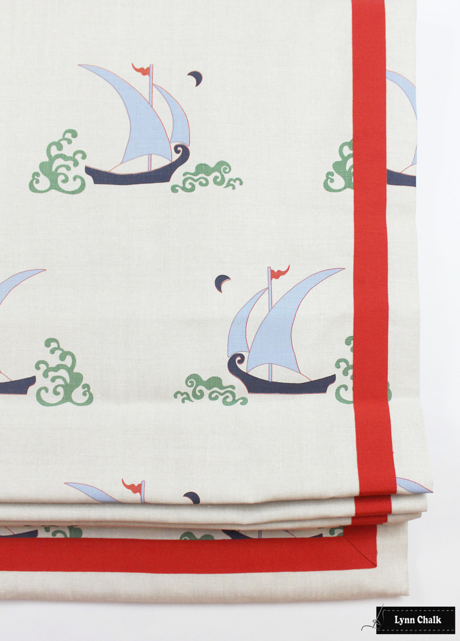 Katie Ridder Beetlecat Roman Shade in Lavender Blue with Samuel & Sons Tomato Red Trim
