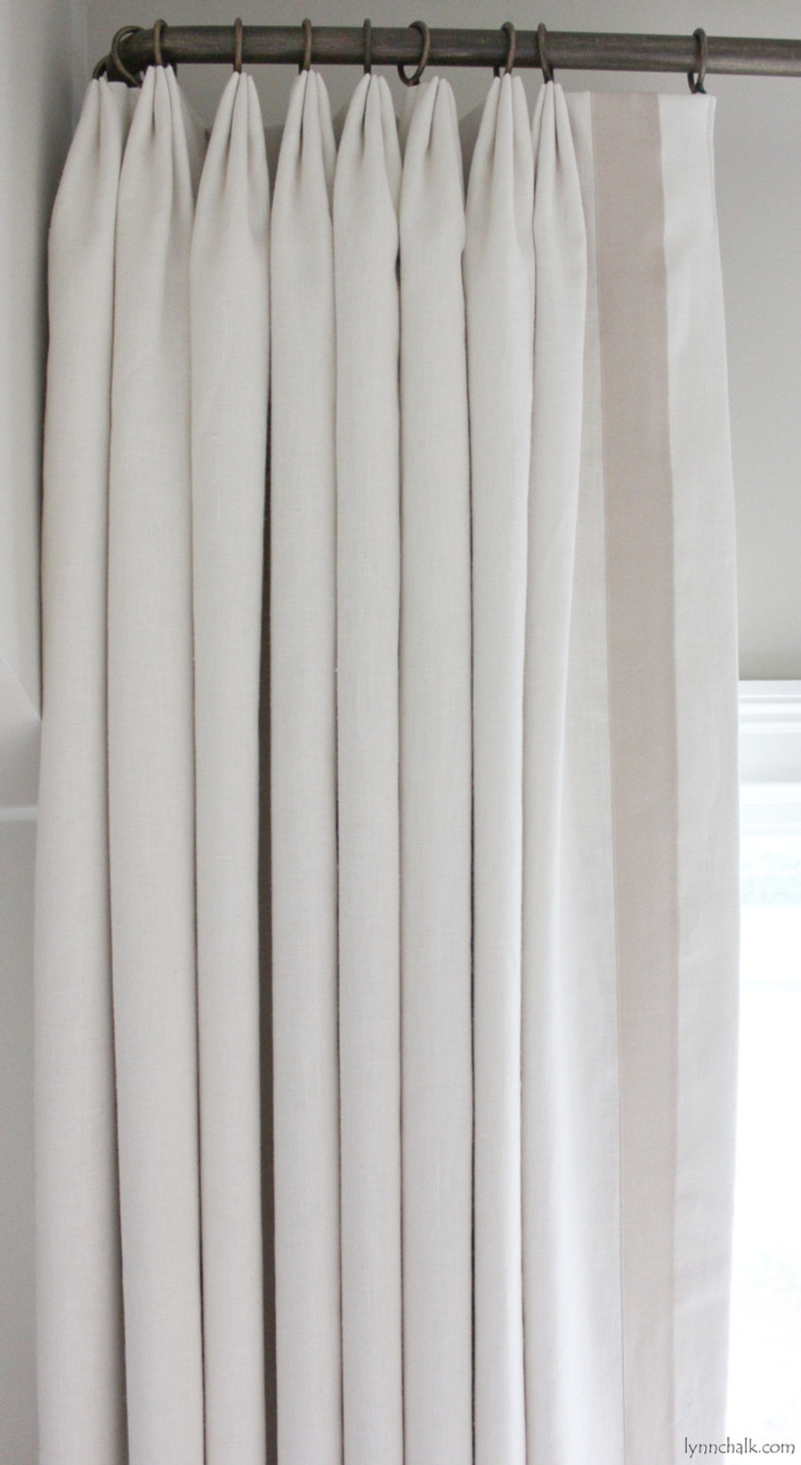 Custom Euro Pleated Drapes in Kravet Dublin Linen with Samuel & Sons Grosgrain Trim Sand