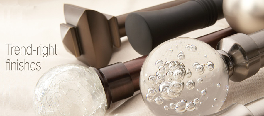 Finials - Square, Trumpet, Blown Glass and Crackle Glass