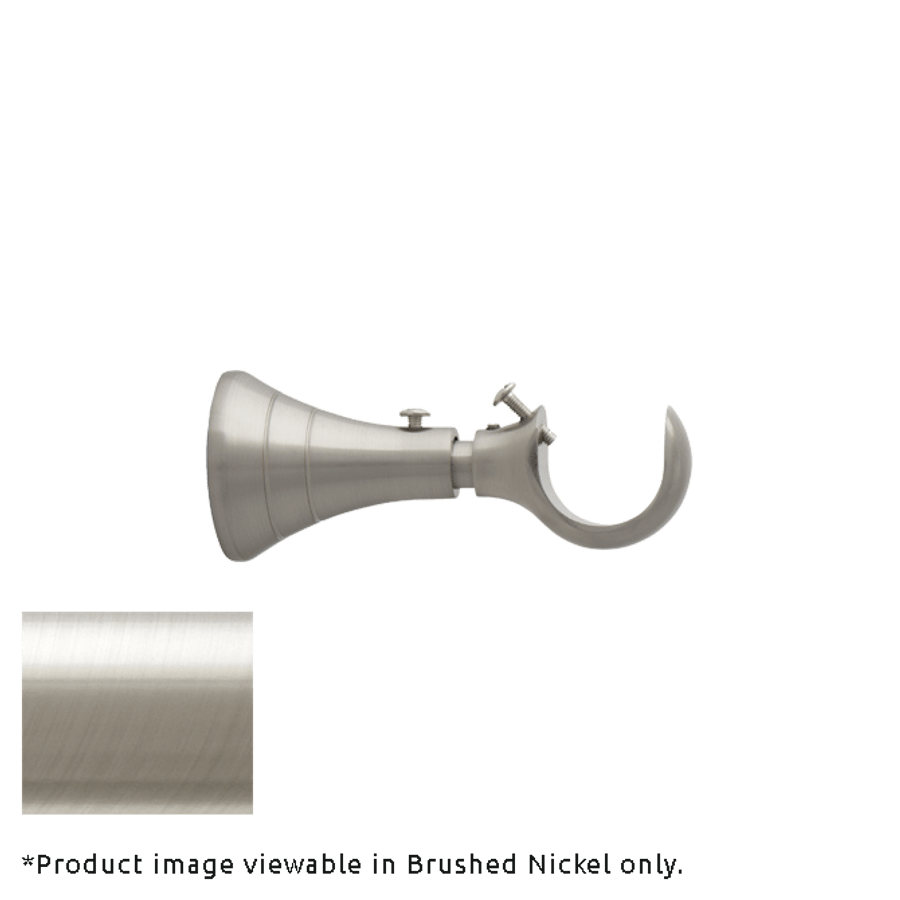 """Standard Brackets for Poles with 3 1/2"""" - 4 1/2"""" Projection (shown in Brushed Nickel).  You will receive brackets to match the finish you are ordering."""