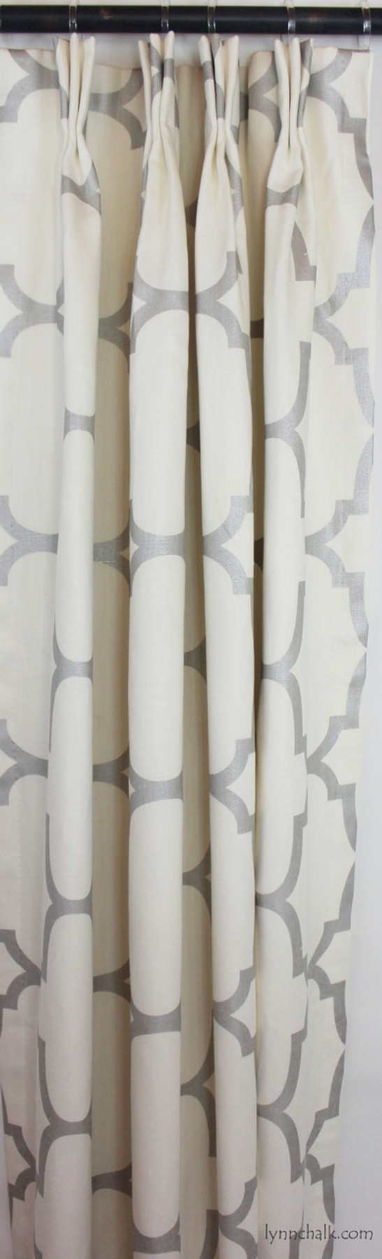 Custom Drapes in Riad in Pearl Silver