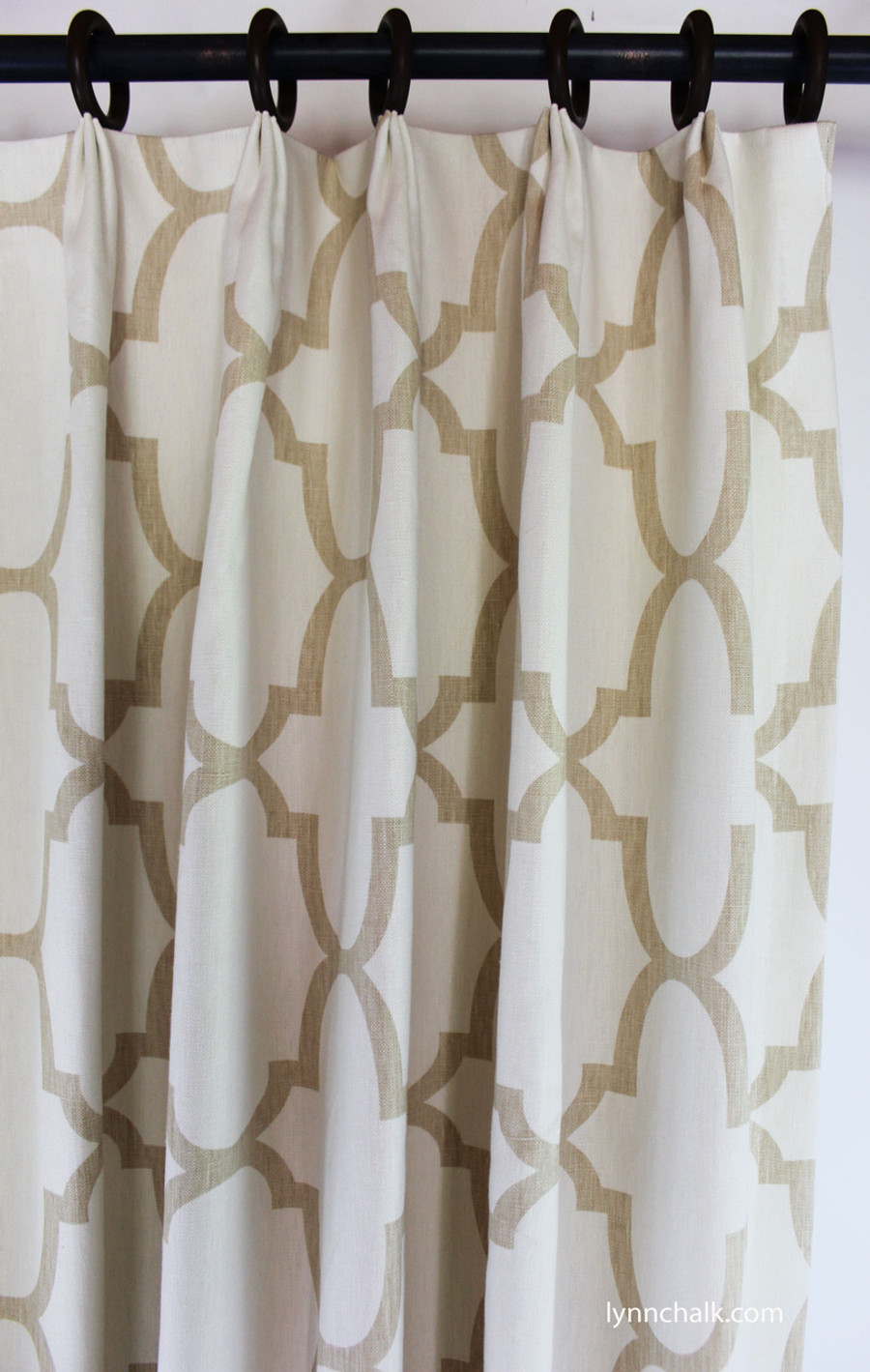 Custom Fan Pleated Drapes by Lynn Chalk in Windsor Smith Riad Beige/Ivory