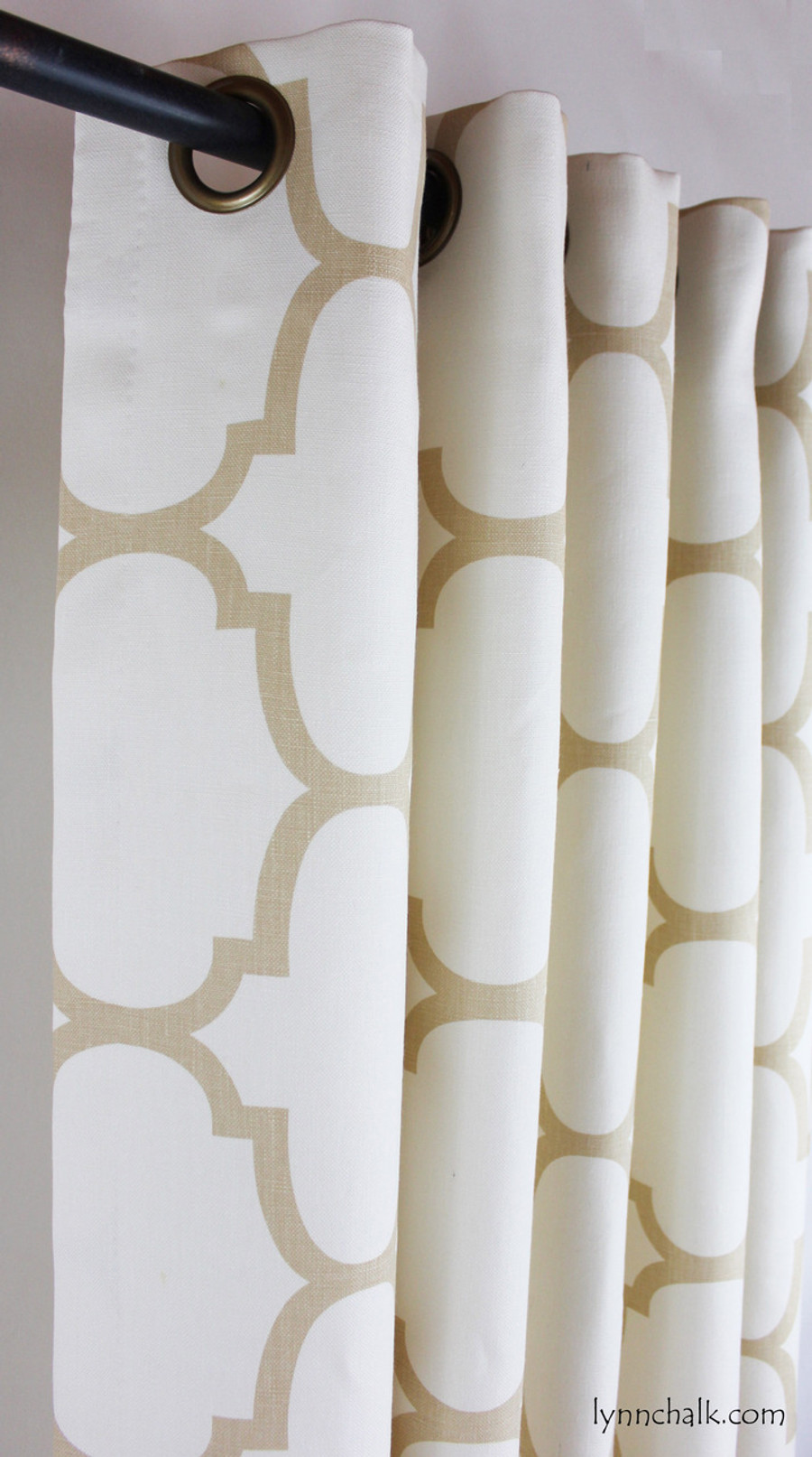 Custom Grommet Drapes by Lynn Chalk in Windsor Smith Riad Beige/Ivory