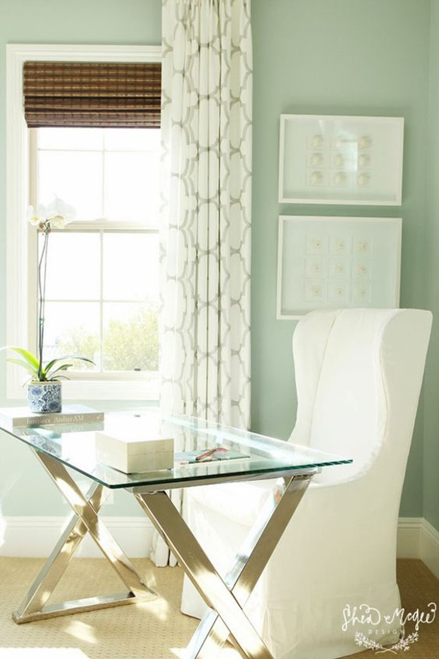 Home Office with Riad Drapes in Pearl Silver (Shea McGee Design)