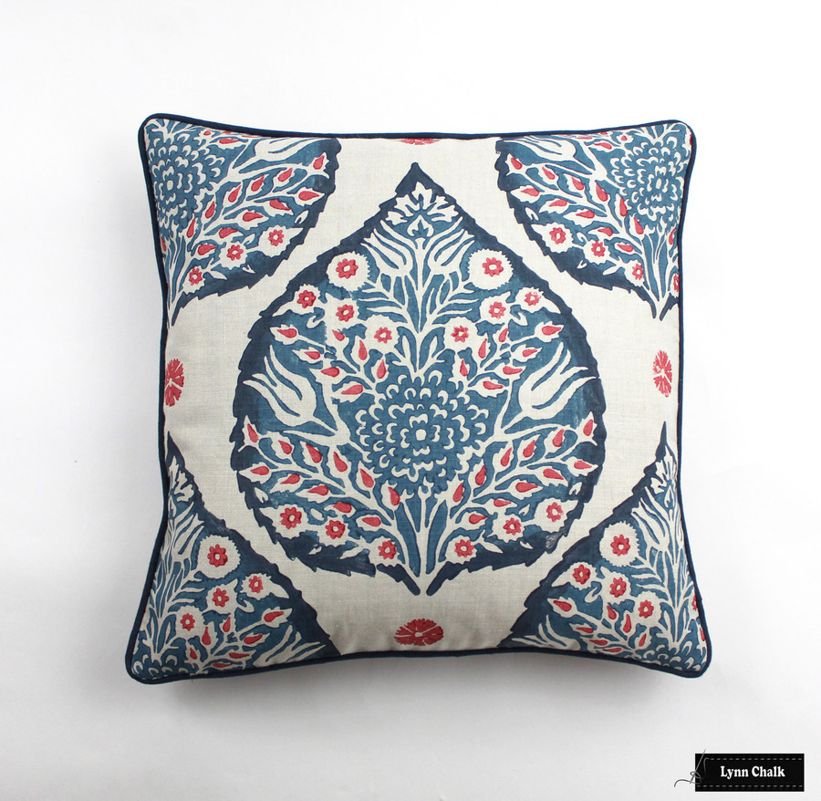 Galbraith & Paul Lotus Pillow in Lapis on Logan Natural Linen with Navy Welting (20 X 20)