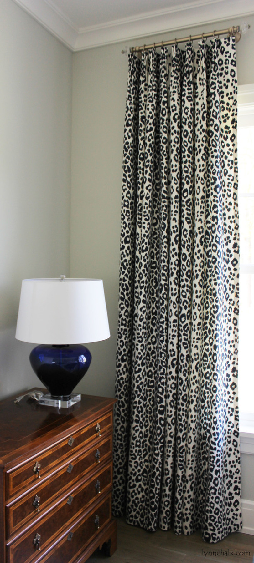 Custom Pinch Pleated Drapes by Lynn Chalk in Schumacher Iconic Leopard in Ink