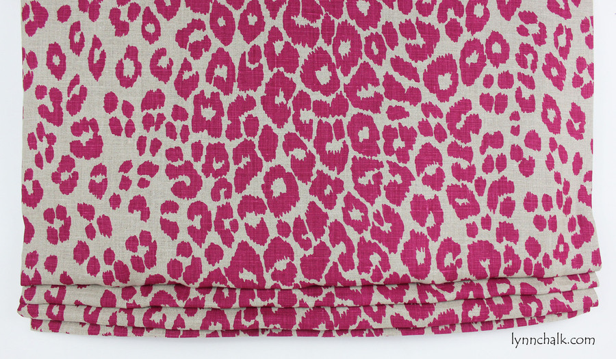 Custom Roman Shade by Lynn Chalk in Schumacher Iconic Leopard Fuchsia/Natural