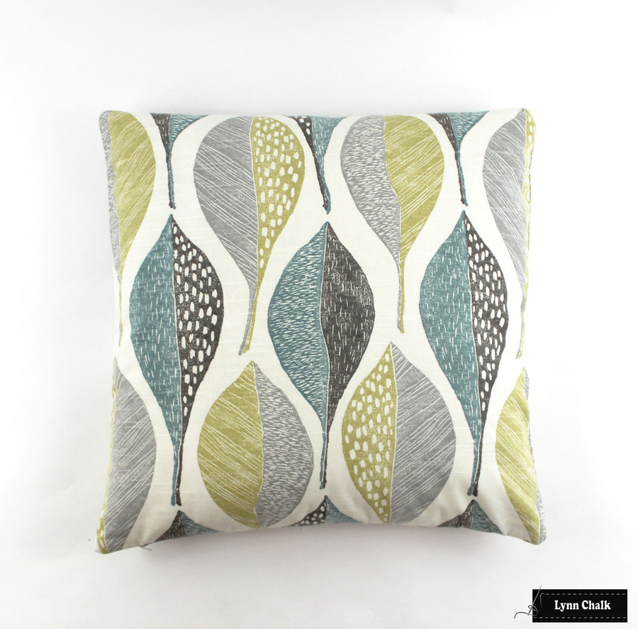 Pillow in Woodblock Leaf Rain (22 X 22)