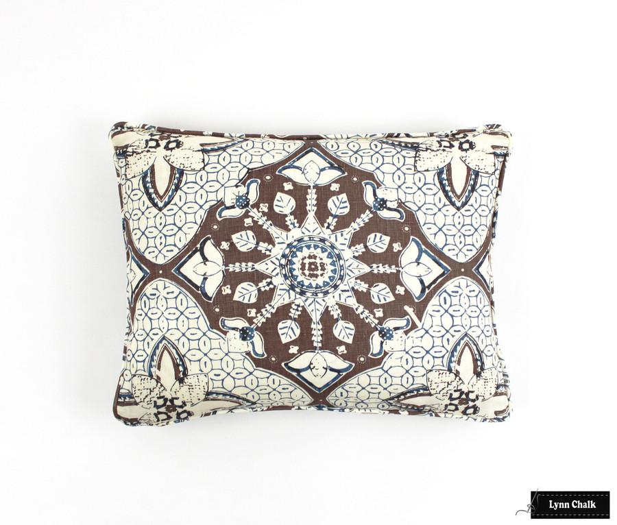 Quadrille New Batik New Brown New Navy Pillow (14 X 22)