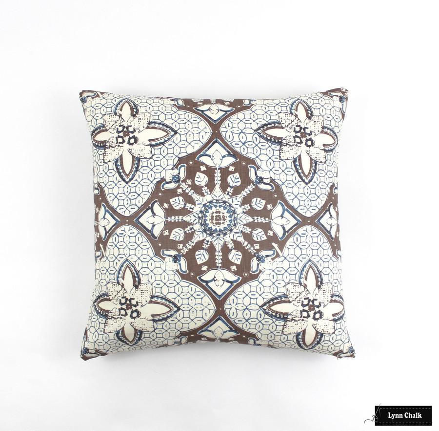 Quadrille New Batik New Brown New Navy Pillow (22 X 22)