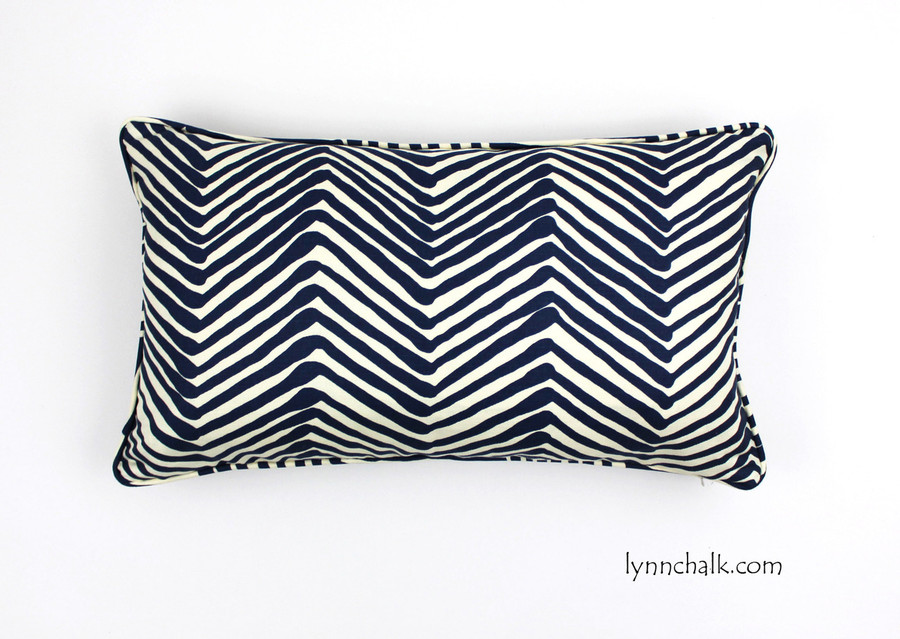 Zig Zag in New Navy on Tint with welting (14 X 24)