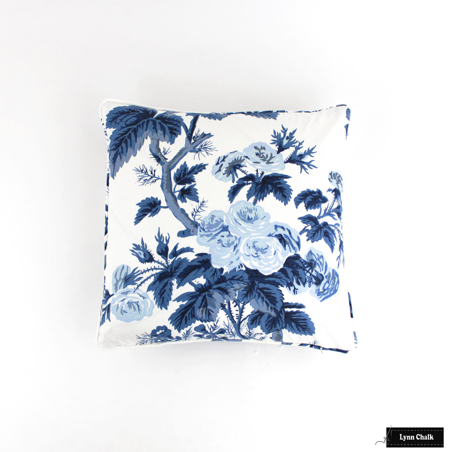 Custom Pillows in Hollyhock Print in Indigo with self welting (shown as 20 X 20)