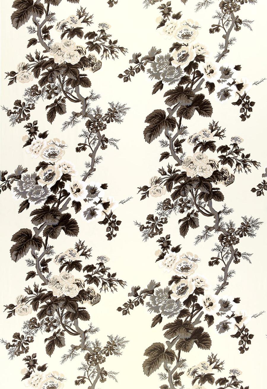Schumacher Pyne Hollyhock Print Pillows in Indigo with Welting (2 Pillow Minimum Order)