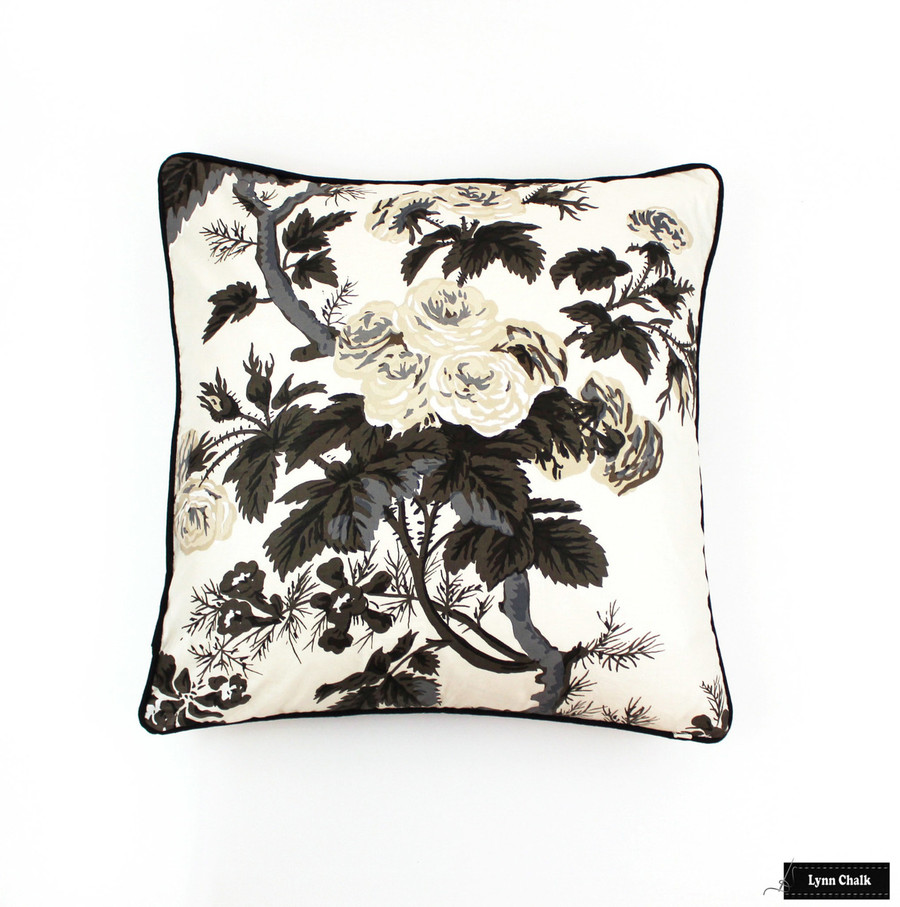 Custom Pillows in Hollyhock Print in Charcoal with black welting