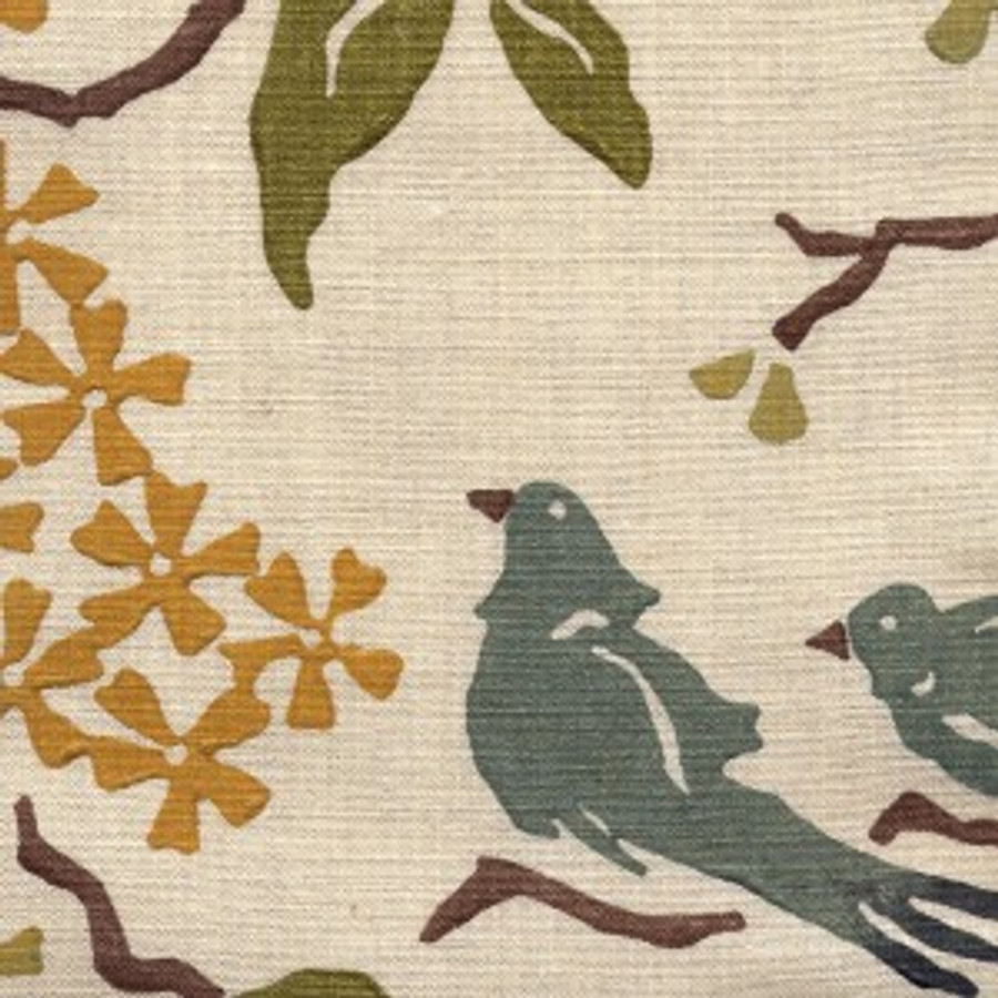 Birds in Ocean on Natural Linen
