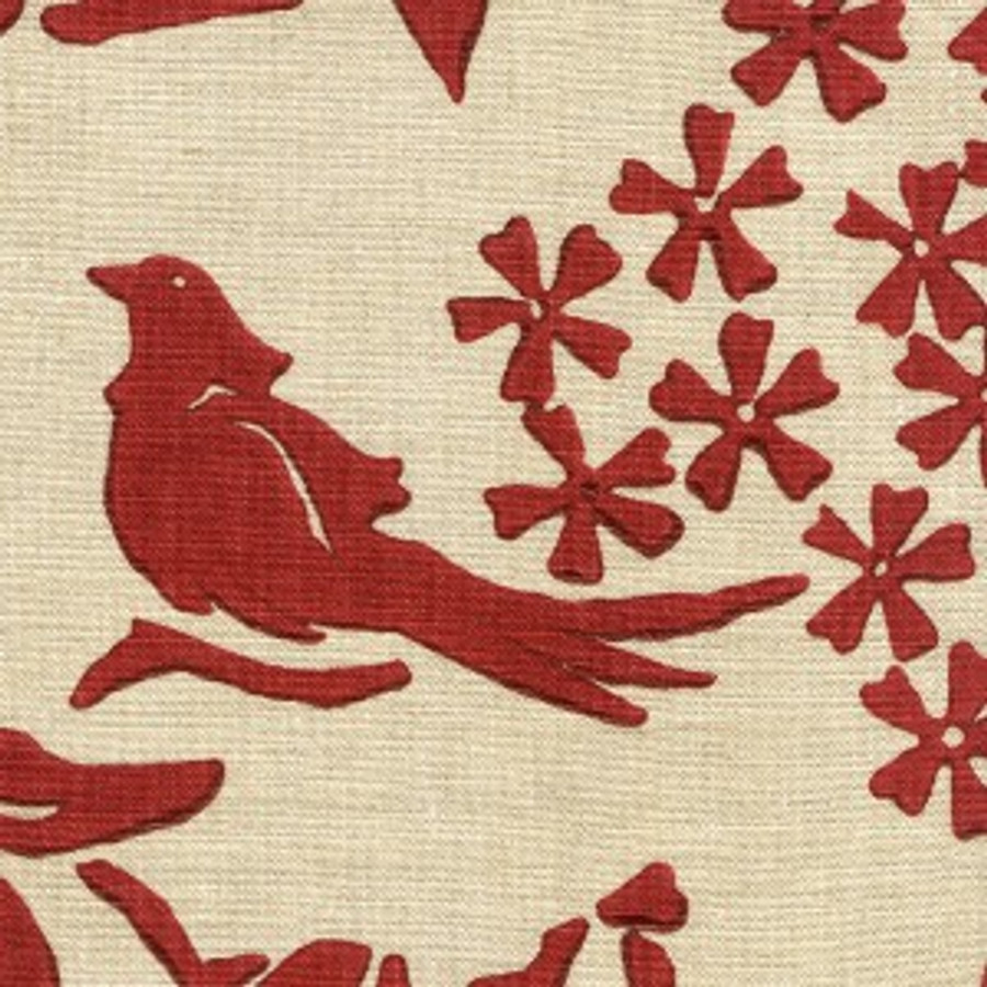Birds Chinese Red on Natural Linen