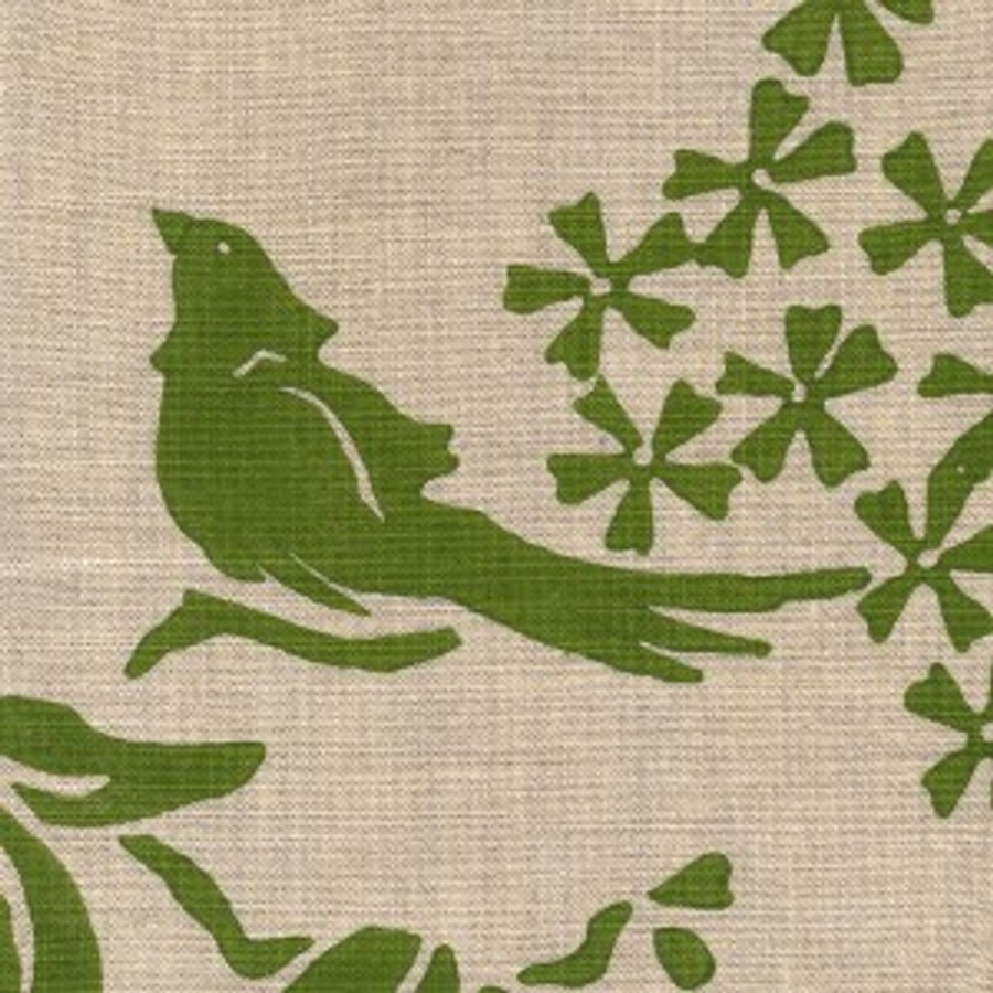 Birds Silhouette Saffron on Grass on Natural Linen