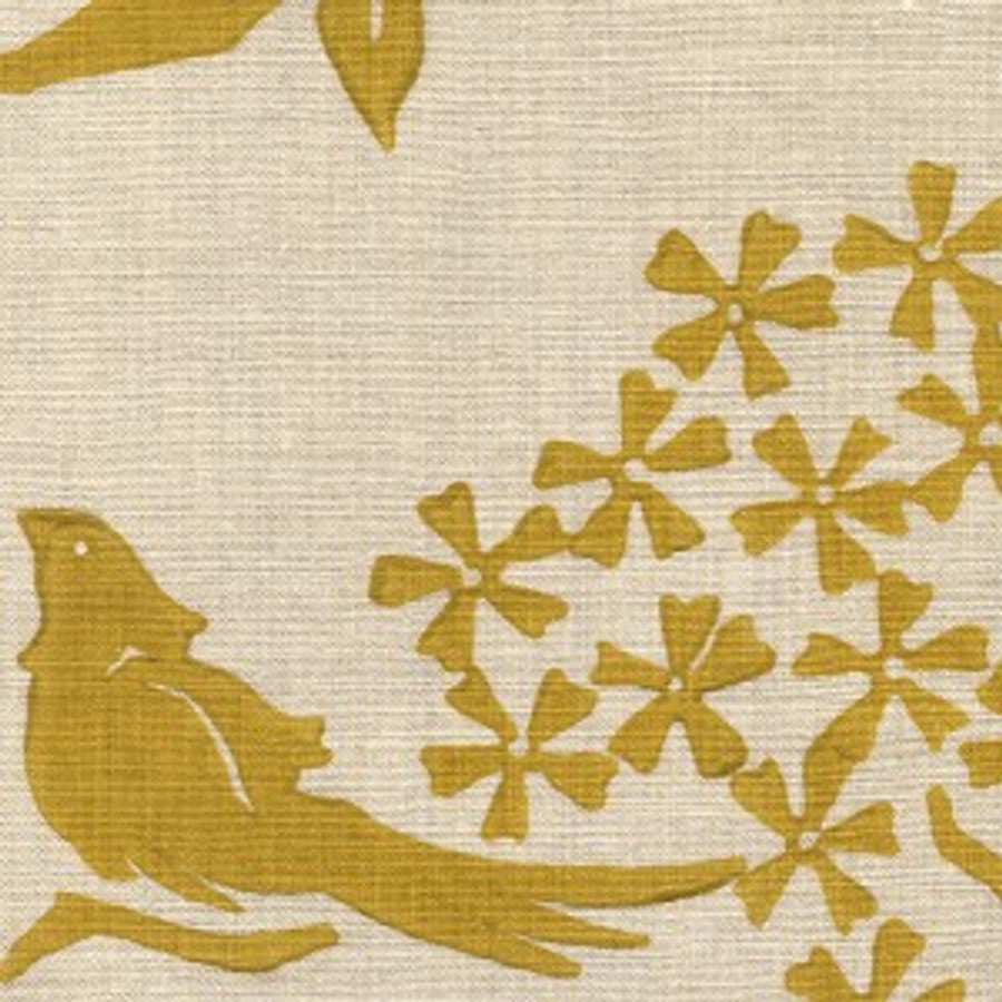 Birds Silhouette Saffron on Natural Linen