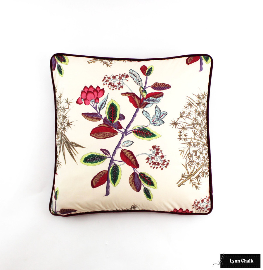 Quadrille Jardins Des Plantes Pillows with Samuel & Sons Swiss Piping in Burgundy (Both Sides)