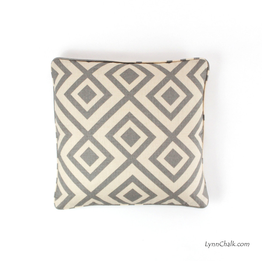 ON SALE 60% Off-David Hicks/Lee Jofa La Fiorentina Pillow in Tan/Beige 18 X 18 with self welting  (This color has been discontinued)