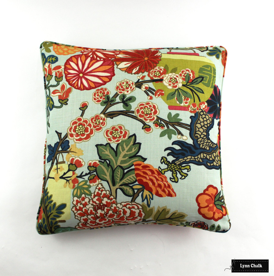 Schumacher Chiang Mai Dragon Pillow with Welting in Aquamarine (Comes in  8 Colors) 2 Pillow Minimum Order