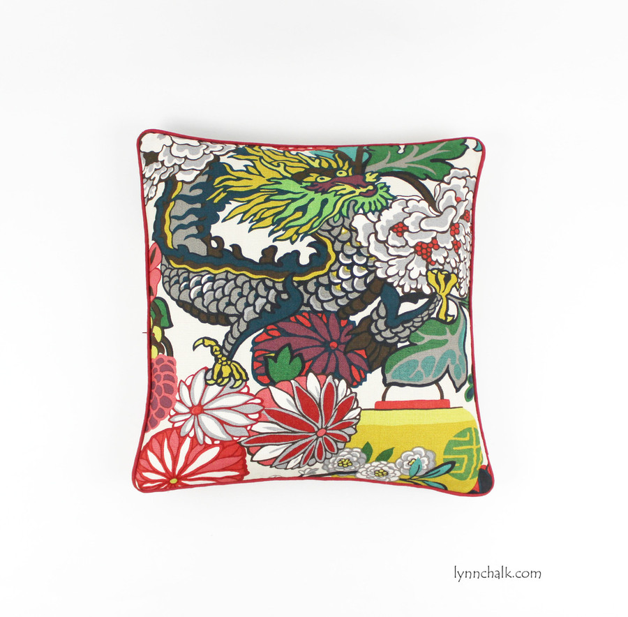 Custom Pillows Schumacher Chiang Mai Dragon with Contrasting Welting in Kravet Dublin Linen in Barn Red (shown in Alabaster 20 X 20)
