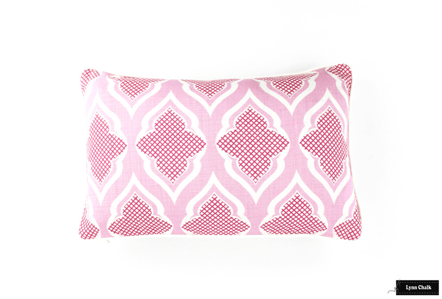 Pillow with white welting in Venecia Hot Pink (14 X 22)