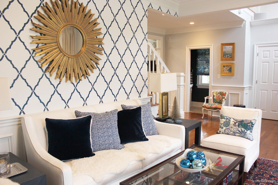 Chiang Mai Dragon Chair and Pillow with Quadrille Petite Zig Zag Pillows on Sofa.   Kelly Wearslter Edo Roman Shade in Bathroom