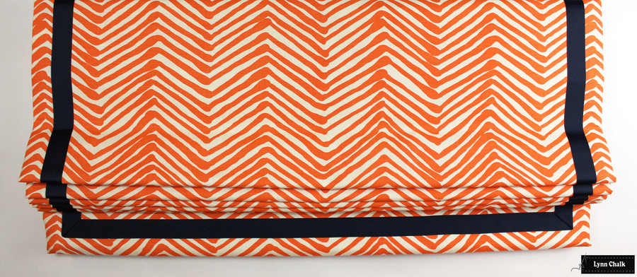 "Quadrille Zig Zag Orange on Tint Roman Shade with Samuel and Sons Navy Grosgrain 1 1/2"" Trim"