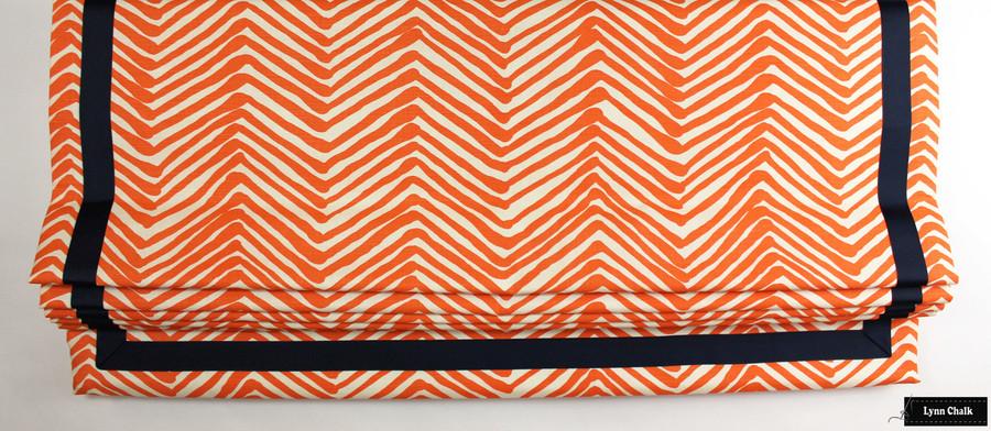 "Quadrille Zig Zag Orange on Tint Roman Shade with Samuel and Sons Navy Grosgrain 1 1/2"" Trim"