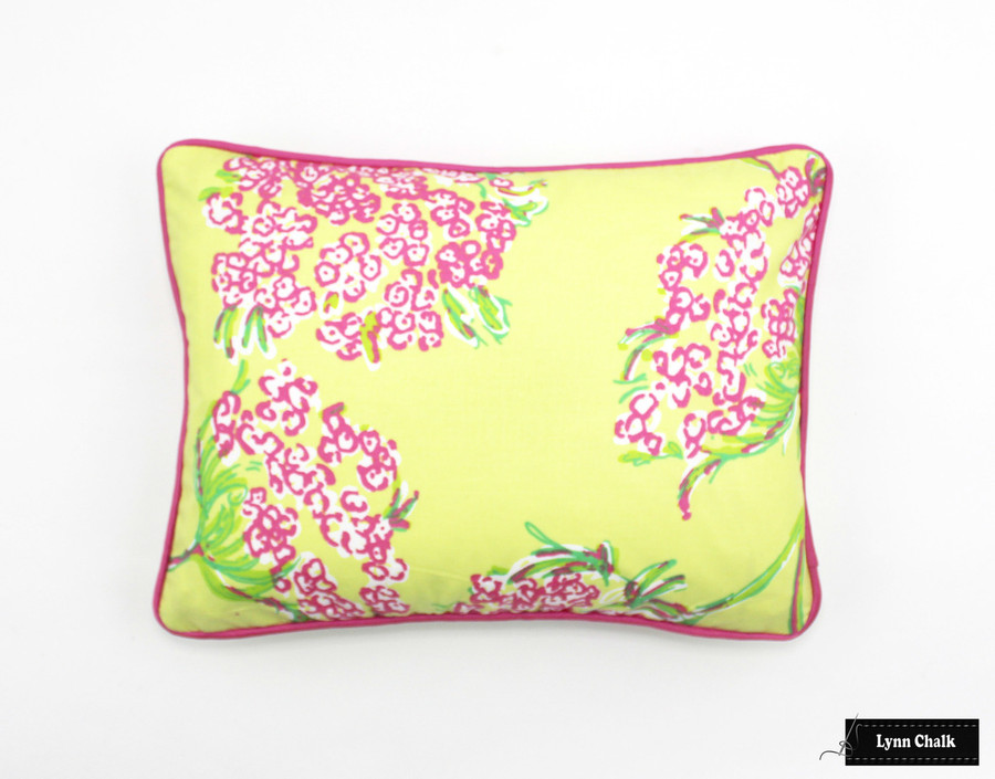 ON SALE 75% Off-Lilly Pulitzer Racy Lacey Lush Green Chartreuse Pillow with Hot Pink Piping (Both Sides - 12 X 16)