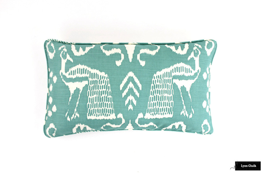 Quadrille Bali II Turquoise on Tint Pillow (14 X 22)