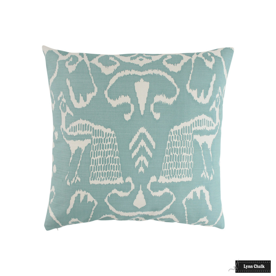 Quadrille Bali II Turquoise on Tint Pillow (22 X 22)