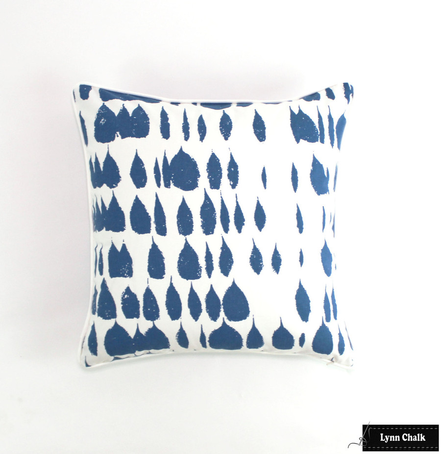 Pillow in Queen of Spain in Water 20 X 20 with White Welting