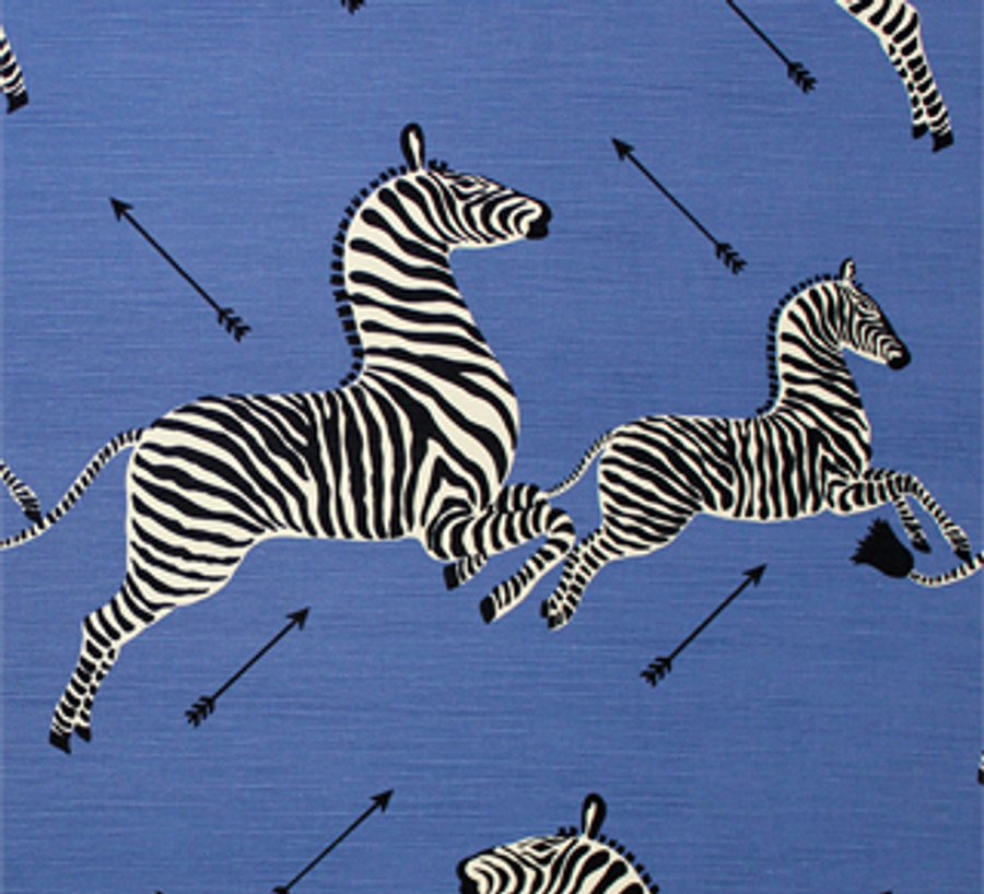 Scalamandre Zebras Denim Blue Comes in Both Cotton/Linen and Indoor/Outdoor Fabric