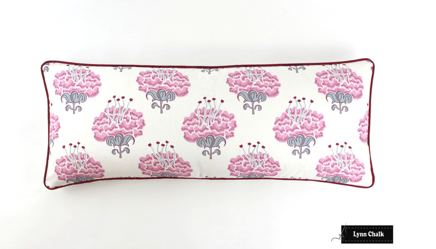 Pillow in Katie Ridder Peony in Raspberry with Kravet Dublin Linen Lipstick Red Welting (14 X 36  in order to center floral pattern)