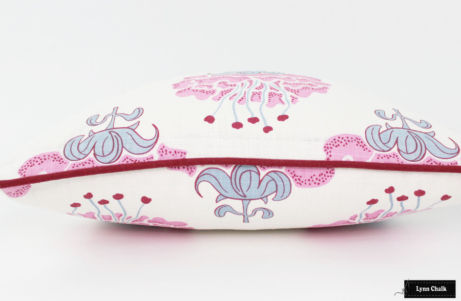 Pillow in Katie Ridder Peony in Raspberry with Kravet Dublin Linen Lipstick Red Welting
