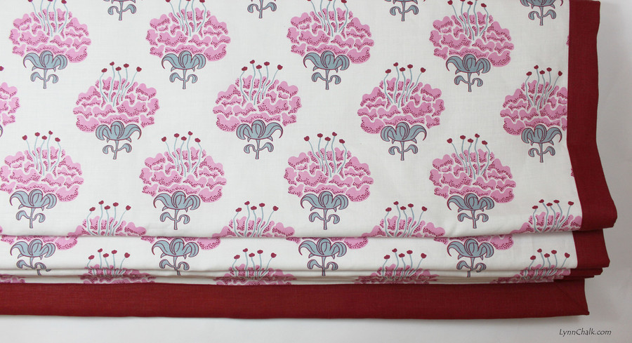 Katie Ridder Peony in Raspberry with Kravet Dublin Linen Lipstick Red Border