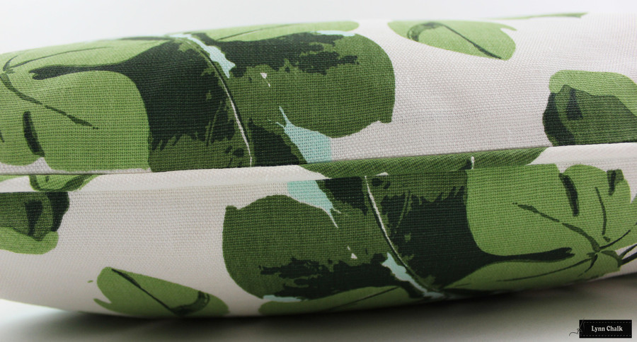Peter Dunham Fig Leaf on White Linen Pillows with Self Welting- 2 Pillow Minimum Order